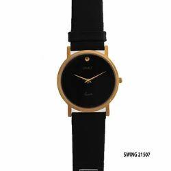 Men's Golden Round Dial Black Watch