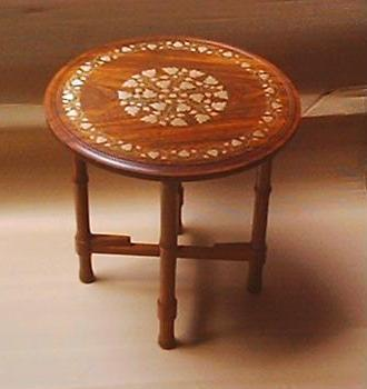 Brass Inlaid Wooden Table