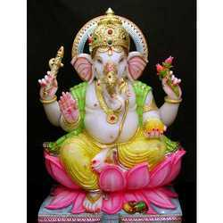 Colored Marble Ganesha Murti