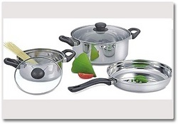 Stainless Steel Stallion Glass Lid Cookware 3pc Set