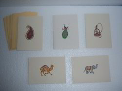 Handmade Eco Friendly Indian Ethnic Print Greeting Cards, Size: 3