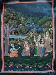 Radha Krishna Silk Painting