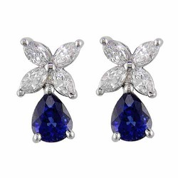 Diamond Earrings With Precious Stones