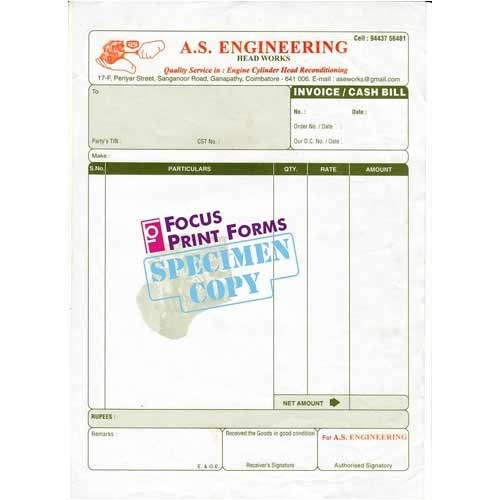 pre printed invoice at rs 10 piece invoice bills focus print