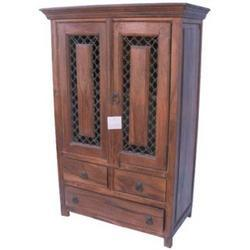 1 Long 2 Short Drawers Iron Mesh Door Cabinet