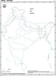 India with Rivers Desk Outline Map