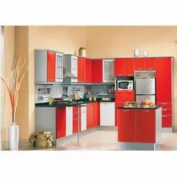 L Shaped Kitchen With Island Unit Kohinoor Interiors Aligarh Id