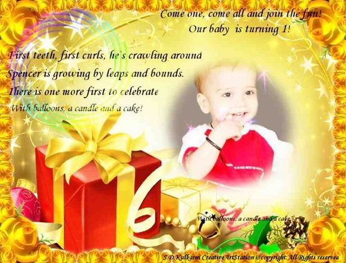 Designs For Invitaion Cards Birthday Invitation Card - 1st birthday invitation indian card