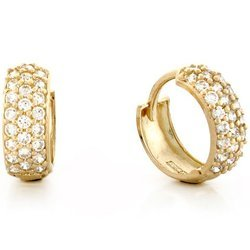 10k Yellow Gold Gorgeous Three Row Round Cut Earrings