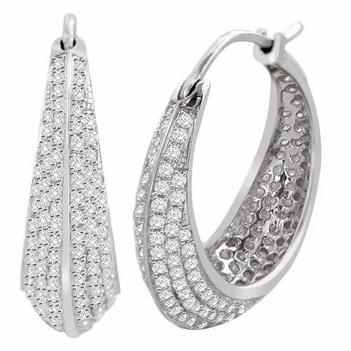 14k White Gold Micro Pave Diamond Hoop Earrings