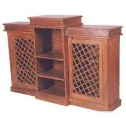 SideBoard with Central Shelves & 2 Iron Mesh Door Cabinets