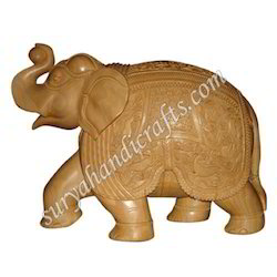Wooden Kadam Elephant With Trunk Up
