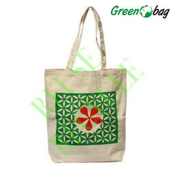 Green White Canvas Shopping Bags