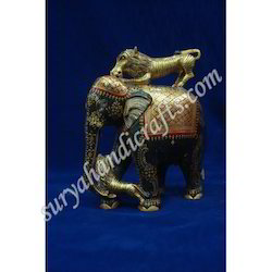 Wooden Painting Elephant With Lion