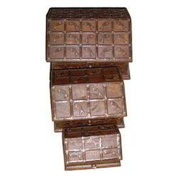 Iron Worked Hut Shape Box Set of 3
