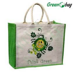 Green Printed Eco Friendly Costume Jute Bags