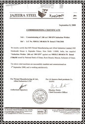 Commissioning Certificate