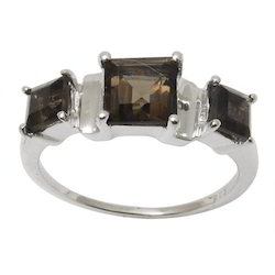 Square Shaped Smoky Stone Ring