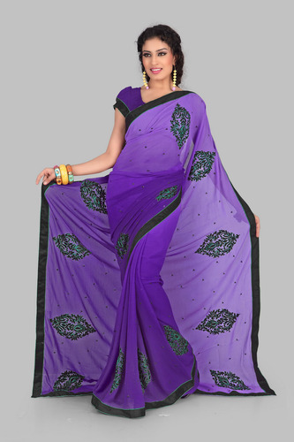 94f4824b8a Fancy Bluish Purple Embroidered Saree at Rs 3249.00   Embroidery ...