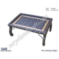 Wooden Table With Brass Emboss Work