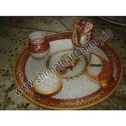 Diwali Gift Marble Pooja Thali