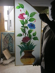 Flower Glass Painting Designs In R S Puram Coimbatore Tvl Praseetha Glass Designers Id 4030445588