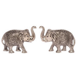 White Metal Decorative Elephant Pair