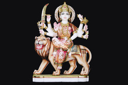 DU-0030 Marble Durga Mata Murti
