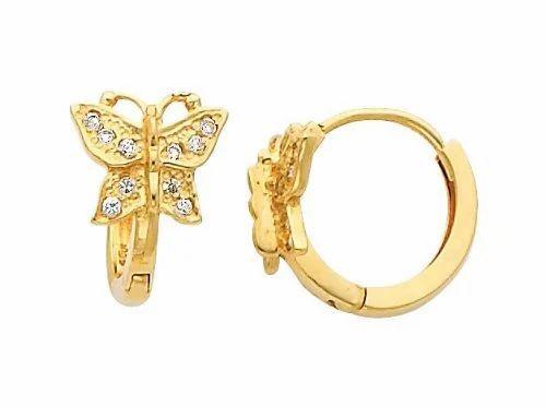 14k Yellow Gold Erfly Cz Huggies Earrings