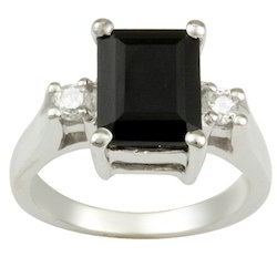 With Black Stone 925 Silver Wedding Ring