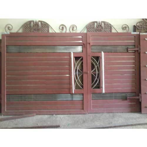 Iron pipe gate designs for homes the for Wooden main gate design