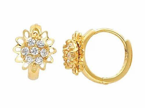 14k Yellow Gold Round Cz Huggies Earrings