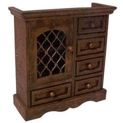 5 Drawers Embossed Iron Mesh Door Cabinet