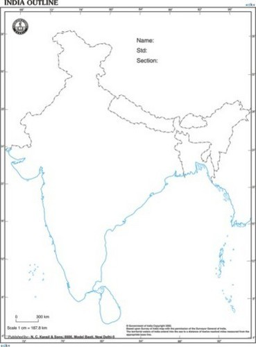 Map Of India Outline At Rs Piece Physical State Maps ID - India map