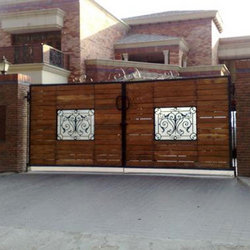 Designer Iron Wooden Gate Shiv Steel Plywood Retailer In