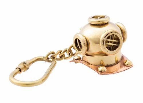Brass Golden Divers Helmet Keyring