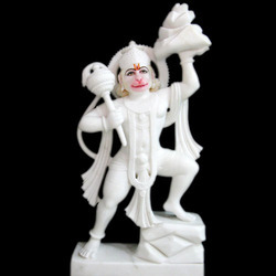 HU-0026 Marble Diamond Studded Statue Of Hanuman Ji