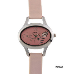 Ladies Oval Silver Dial Pink Thin Band Wrist Watch