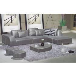 Silver Leather Sofa Set