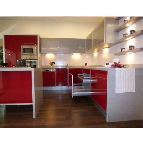 Red & White Modular Kitchen - View Specifications & Details of ...