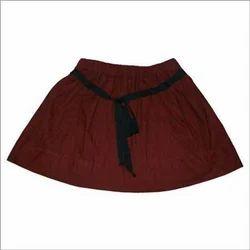 Brushed Cotton Girls Skirt With Ribbon Belt