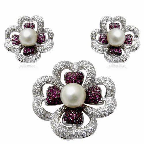 Diamond ruby pendant set at rs 167500 piece diamond pendant set diamond ruby pendant set aloadofball Image collections