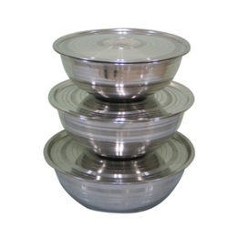 Stainless Steel Footed Bowl With Cover
