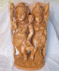 Wooden Shiv Parvati Statue