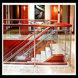 Polished Stairs Stainless Steel Railings, For Hotel, Resort etc, Mounting Type: Floor