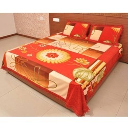 Polyster Printed Suede Bed Sheet With Pillow Covers