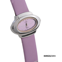 Ladies Pink Leather Band Wrist Watch