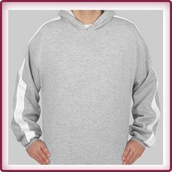 Grey Cotton Fleece Sweat Shirt With Hood And Strip