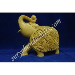 Wooden Kadam Wood Elephant With Trunk Up