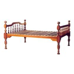 Bed with Wooden Pillars